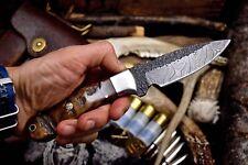 """CFK Custom Handmade Hammered Damascus """"Honey"""" Sheep Horn Small Hunting 3"""" Knife"""