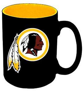 WASHINGTON REDSKINS BLACK MATTE CERAMIC COFFEE MUG 11 OZ. NFL LICENSED