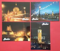 Set of 4 London Postcards England City View Street Travel Landscape Postcards