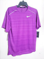 Mens Nike Dri-Fit Running Purple Short Sleeve Athletic Shirt Reflective New NWT