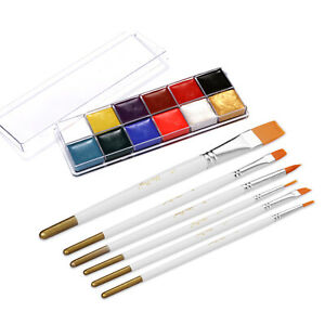 12 Colors Solid Oily Face Paint Pigment Greasepaint Kit with 6pcs J1G9