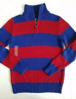 Ralph Lauren Boys Sweater Pullover Zip Neck Striped Blue Red Size M 10-12 NWT