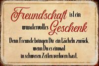 Freundschaft ist ein Geschenk Blechschild Schild gewölbt Tin Sign 20 x 30 cm