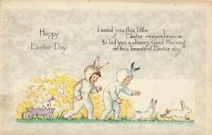 EASTER - CHILDREN IN RABBIT SUITS WITH WHITE RABBITS, WOODEN CART GIBSON ART CO