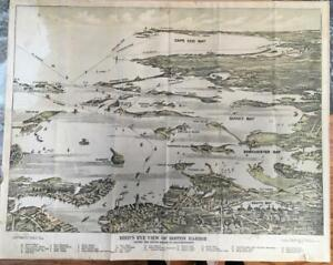 Antique Birds Eye View Map Boston Harbor Federal cape cod aerial Original Litho