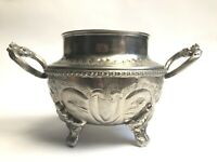 Vintage Silver Plate Arabic Double Handled Container Stamp To Base