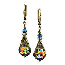 Peacock Baroque Goldtone Vintage Earrings with Crystal from Swarovski