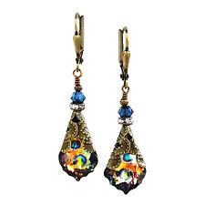 Peacock Baroque Crystal Filigree Vintage Earrings with Crystal from Swarovski