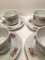4 SOUTHINGTON BAUM FINE CHINA ''ROSE GARDEN'' CUP AND SAUCER SETS POLAND VINTAGE