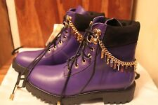 NEW H&M X MOSCHINO Purple Boots. Leather. Ankle chains. Size 6 UK / EUR 39