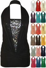 Halterneck Sleeveless Tops & Shirts for Women with Ruched