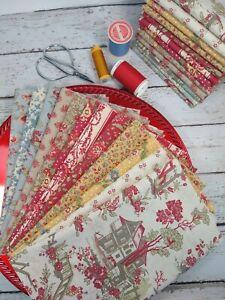 Wine Cotton Fat Quarters Vintage Moda Fabrics  Destash Cotton