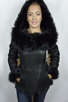 Black 100% Sheepskin Toscana Shearling Leather Lambskin Hood Coat Jacket XS-7XL