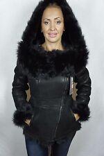Black 100% Sheepskin Toscana Shearling Leather Lambskin Hood Coat Jacket XS-7XL