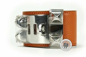 NEW Hermes Collier DE Chien Cuff Cdc Orange / CK93 Epsom Small Bracelet Phw AUTH