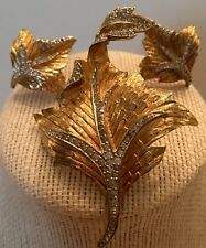 Vintage Gold & Rhinstone Leaf Brooch And Earrings