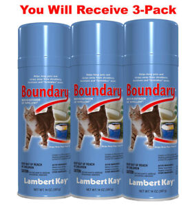 3x Lambert Kay Boundary Cat Pet Repellent Spray Indoor Outdoor Training Aid 14oz