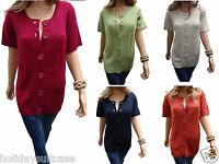 Ladies womans cable knit short sleeve cardigan easy fasten buttons size 14 to 24