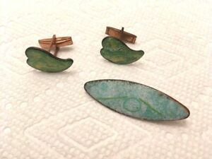 Set Enameled Copper Hand Crafted mcm Vintage RETRO Cufflinks & Lapel Pin Blue