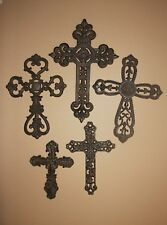 (5) California Mission Style Home Decor, Mission Theme Wall Crosses, Cast Iron