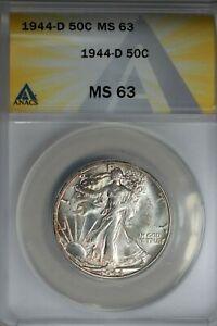 1944-D  .50   ANACS  MS 63  Walking Liberty, Half Dollar, Lady Liberty Half