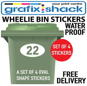 WHEELIE BIN NUMBER STICKERS IN YOUR CHOICE OF NUMBERS IN THE OVAL SHAPE STICKERS