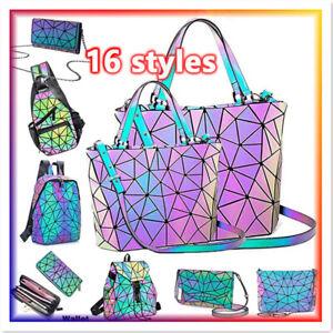 2021  Luminous Holographic Backpack Rainbow Crossbody Bag Shoulder Chest Handbag