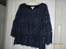 Charter Club Lace Bell Sleeve top Size M Navy Blue - NWT