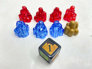 Dragon Strike Board Game 2002 - Crystal Tokens & Die - Replacement Parts Pieces