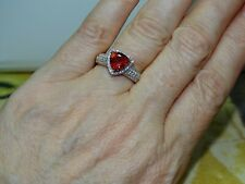 Red Andesine, Zircon Ring in Platinum Over 925 SS Size 8 1.95 ctw