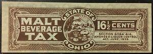 Ohio State Revenue 16½ Cents Malt Beverage Tax #B87 – Mint-NGAI - sound - OH