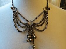 "Antique Brass Necklace Chain Bib Dangle Fringe 17"" Long Double Rolo Links Beads"