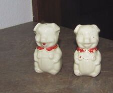 Vintage Pair of Sitting Pigs American Bisque ? Salt and Pepper Shakers
