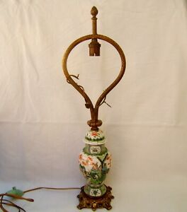 vase potiche porcelaine Chine famille verte lampe chien Fo gardiens XIX bronze