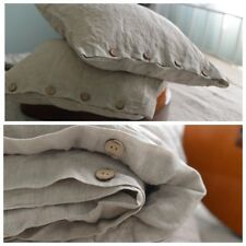 DUVET COVER set & pillow with button natural grey Stone Washed Seamless full