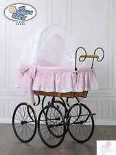 My Sweet Baby Luxury Retro Stubenwagen Nostalgiestubenwagen Rosa Natura XXXL TÜV