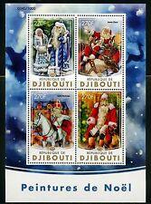 DJIBOUTI 2016 CHRISTMAS PAINTINGS SANTA CLAUS SHEET MINT NEVER HINGED