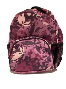 Navy Pink Flowers Small Backpack