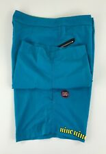 Hurley International Men 38 Teal Blue Swim Trunks Sonic Youth Hidden Pocket W-34