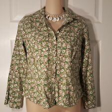 bc681e689ff1 Womens Size 4 Petite 4P ANN TAYLOR LOFT Green Button Up Down Shirt Top  STRETCH