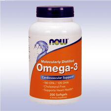 NOW OMEGA-3 (200 SOFTGELS) fish oil 180 epa 120 dha fatty acids cholesterol free