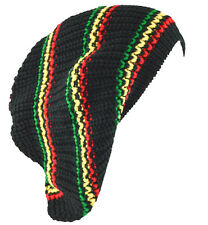 Unisex Slouchy Rasta Beanie Knit Hat 4 Colors Stripe-green yellow red(black)