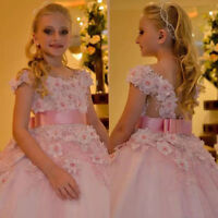 Elegant Flower Girl Dress Pink Bead Pearls Princess Party Pageant Ball Gowns New
