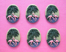 6 PINK FLAMINGOS 3D PALM TREES on Green 25mm x 18mm Costume Jewelry Craft CAMEOS