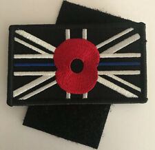 Blue line Poppy Patch Uk Flag Patch Union Jack Army Embroidered Badges