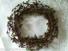 """Berry Candle Ring 6"""" Wreath BURGUNDY WINE Pip Berries Crafts Primitive Holiday"""