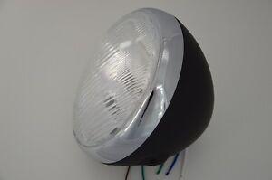 "Old Skool Retro 7.5"" Motorbike Headlight Black Steel Side Mount For Custom Bike"