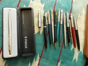 Vintage PARKER 9 Ballpoint Pens & 2 Mechanical Pencils