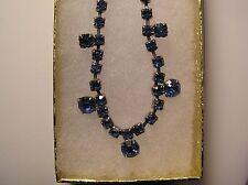 "Vintage Silver Tone Blue Rhinestone 15"" Necklace"