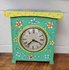 Vintage Painted Wood Desk Clock Hand Painted Floral Made in India